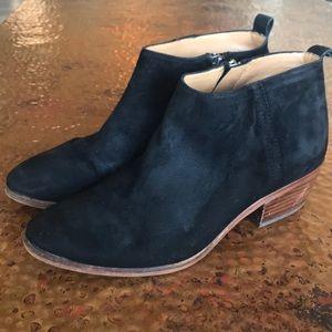 {J. Crew} Black Suede Booties. Size 7.5.